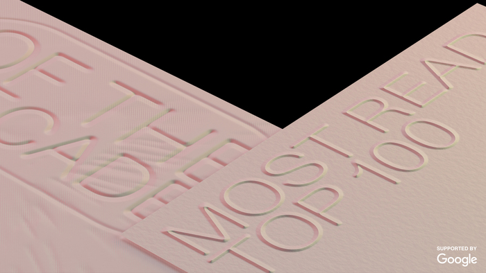 Fonts are embossed and debossed on the images used for Review of the Year identity