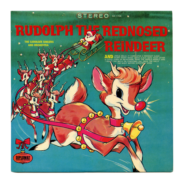 """Diplomat Records, SX 1708 (1971). Illustration by George Peed. The band is here listed as """"The Caroleer Singers and Orchestra"""". The red and yellow letters are from , see the specimen below. This film typeface came with a number of alternates that could be inserted manually. On the record cover, the repeating letters are all identical. None of the interlocking alternates were used. The track list appears to be set in caps from ."""