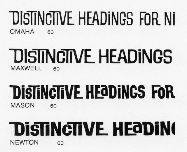 Detail from an undated Filmomaster specimen (ca. early 1970s), showing Filmotype's range of interlocking styles. To date,  is the only one to be available in digital form.