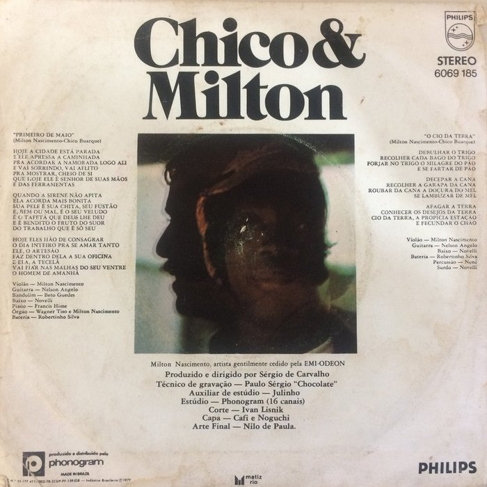 "Milton & Chico – ""Primeiro de Maio"" / ""O Cio da Terra"" single sleeve 2"