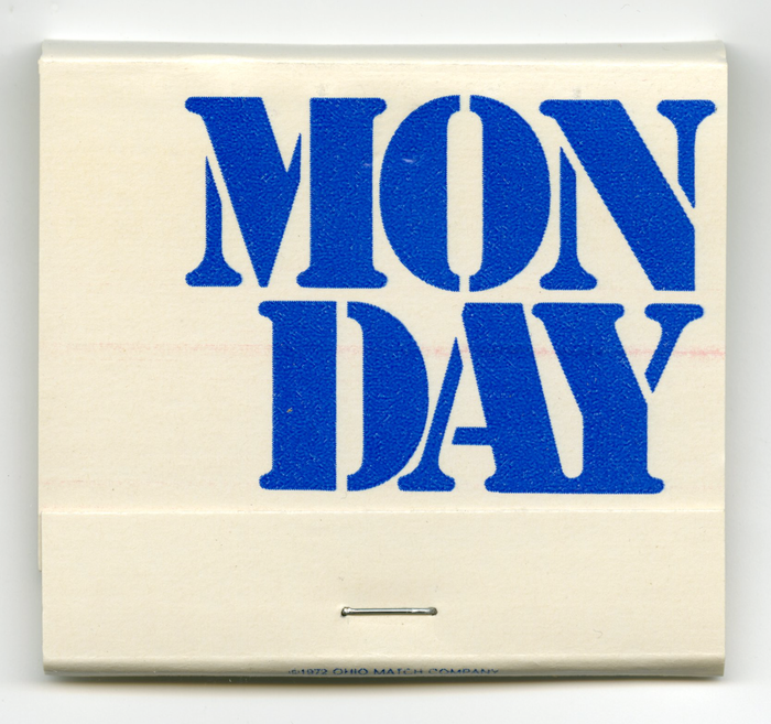 Monday is set in ATF Stencil.
