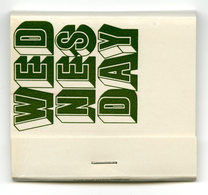 Wednesday is set in , a copy of Milton Glaser's Baby Fat, distinguished by a wider W and a simpler shade on S.