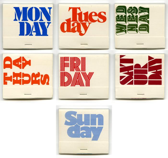 Weekday matchbooks 1