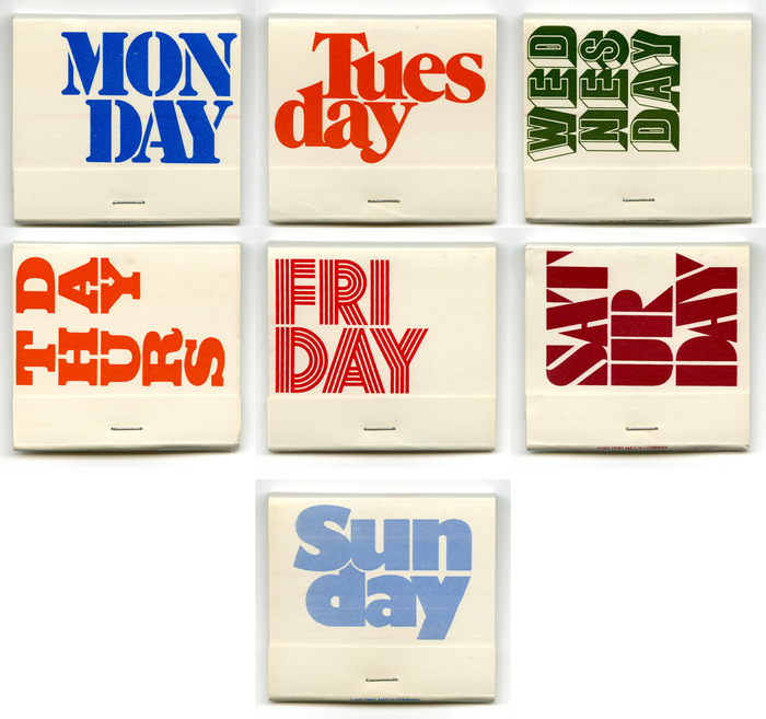 Weekday matchbooks 1