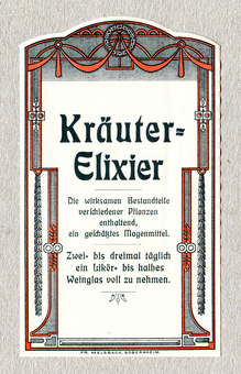 "Pharmacy labels by Fr.<span class=""nbsp""> Melsbach, Sobernheim</span>"