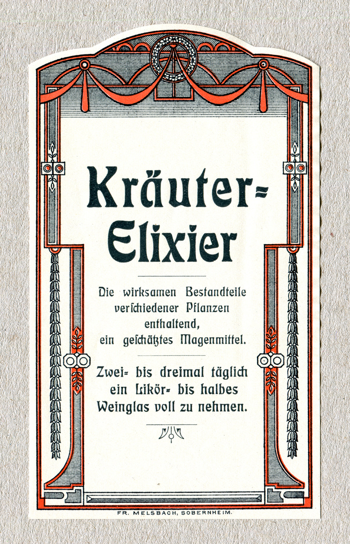 "Kräuter-Elixier (""herbal elixir""). The center-aligned typography shows three sizes of Eckmann-Schrift (1900). The long s (ſ) appears only in the sch trigraph (""verschiedener"", ""geschätztes""). Contrary to the traditional rules, it's not used for ""wirksamen"" or ""Bestandteile""."