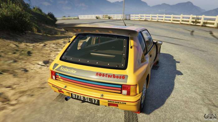 "In 2016, the rally model of the Peugeot 205 Turbo 16 was made available for use in Grand Theft Auto 5 (the game). It is described as ""perfect for racing, but can also serve for ordinary travel in the city or suburbs. Texture is well developed and the model looks very nice in the light of the sun."""
