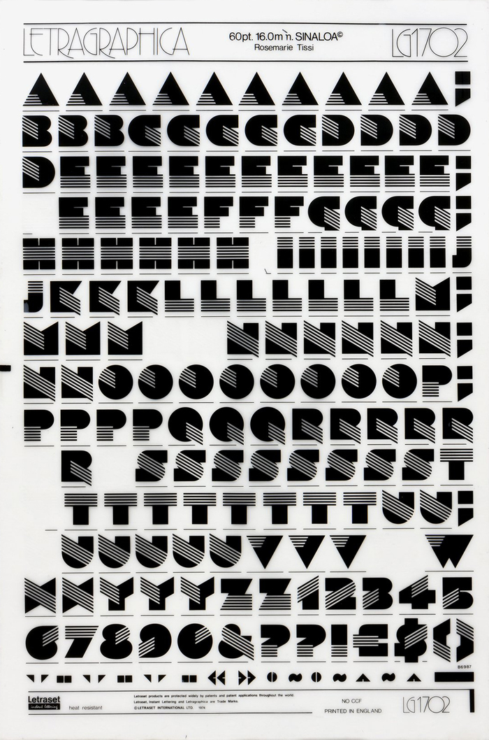 Sinaloa's original glyph set on a sheet of rub-down letters from Letraset's Letragraphica range (60pt, LG1702, 1974). The designer's name, Rosmarie Tissi, is here misspelled with an extra e.
