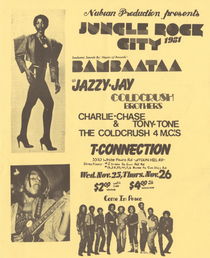 "The flyer for ""Jungle Rock City"" uses no less than seven typefaces, plus lettering. From top to bottom: Commercial Script; Sinaloa; Futura Black; Balloon; Piccadilly, Rocco, Helvetica, all available as Letraset dry transfer letters. The big images show Aretha Franklin and Bob Marley, probably present in the ""Soulsonic Sounds of Master of Records Bambaataa"". Afrika Bambaataa was an important figure in the local Hip-hop scene, and would accelerate the worldwide success of Hip-Hop a year later with his Planet Rock."