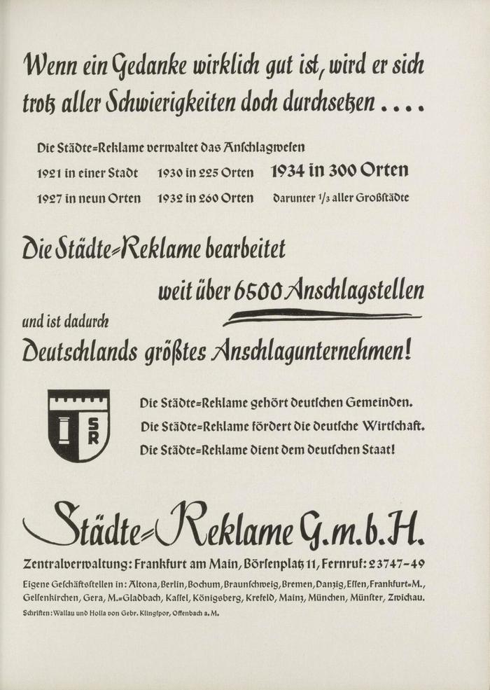 Städte-Reklame ad (1934)