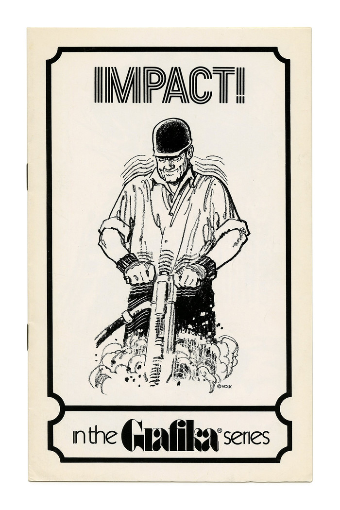 """""""Impact!"""" (Grafika No. 71), ft. the triline face designed by Lance Wyman for the 1968 Mexico Olympics, see . This is probably Photo-Lettering's adaptation that went under the name Olympic, or the Lettergraphics version known as Hotline. Note how the type echoes the vibration caused by the jackhammer."""