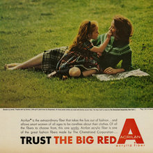 """Trust the Big Red A"" ad for Acrilan acrylic fiber"