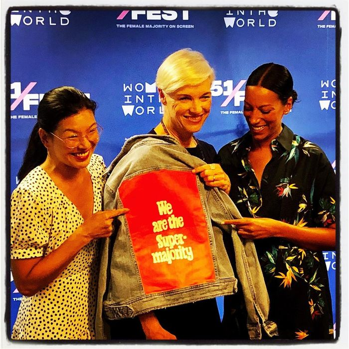 Supermajority leaders Ai-Jen Poo, Cecile Richards, and Katherine Grainger with a handmade jacket
