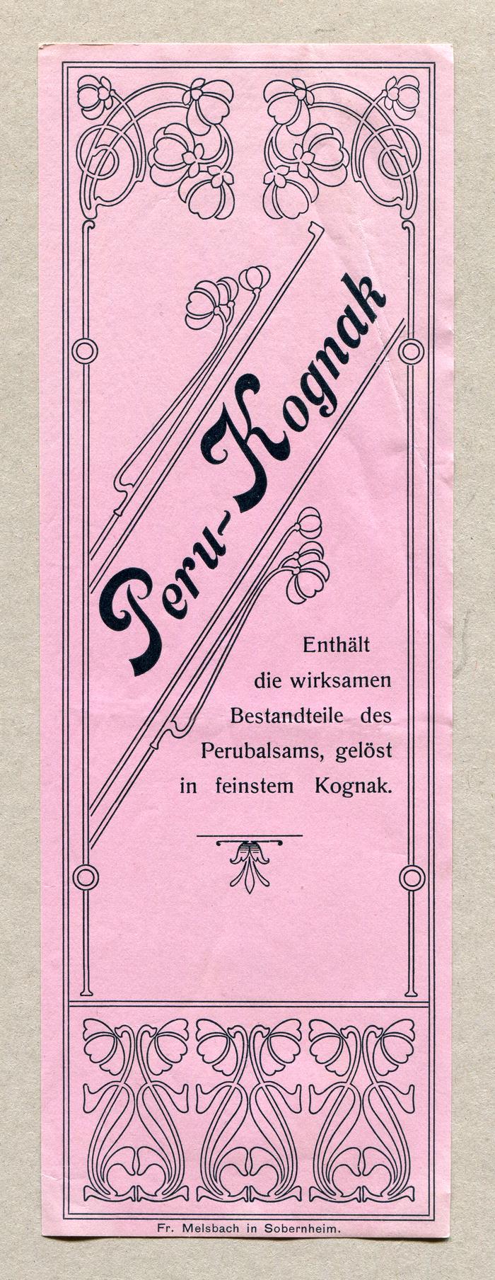 Peru-Kognak is set in Nelson, the German name for  (1895) The roman is Schelter & Giesecke's Romanisch (1889).
