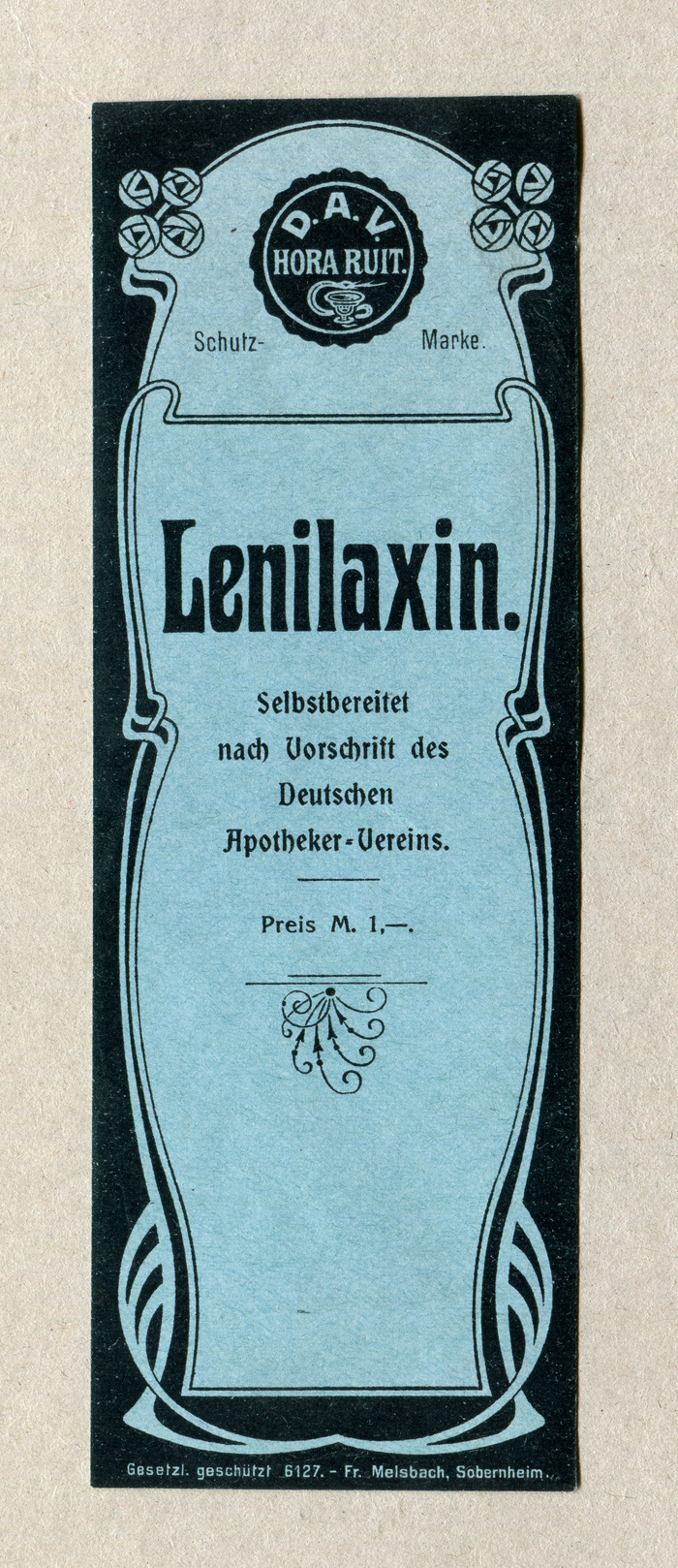 Lenilaxin uses a typeface that was sold by many foundries under various names, incl. Phönix (Poppelbaum, before 1903) and Medea (Flinsch, 1903; later continued by Bauer). The smaller text is in one of the light cuts added by German foundries to their  adaptations, see . The price is in  (1904).