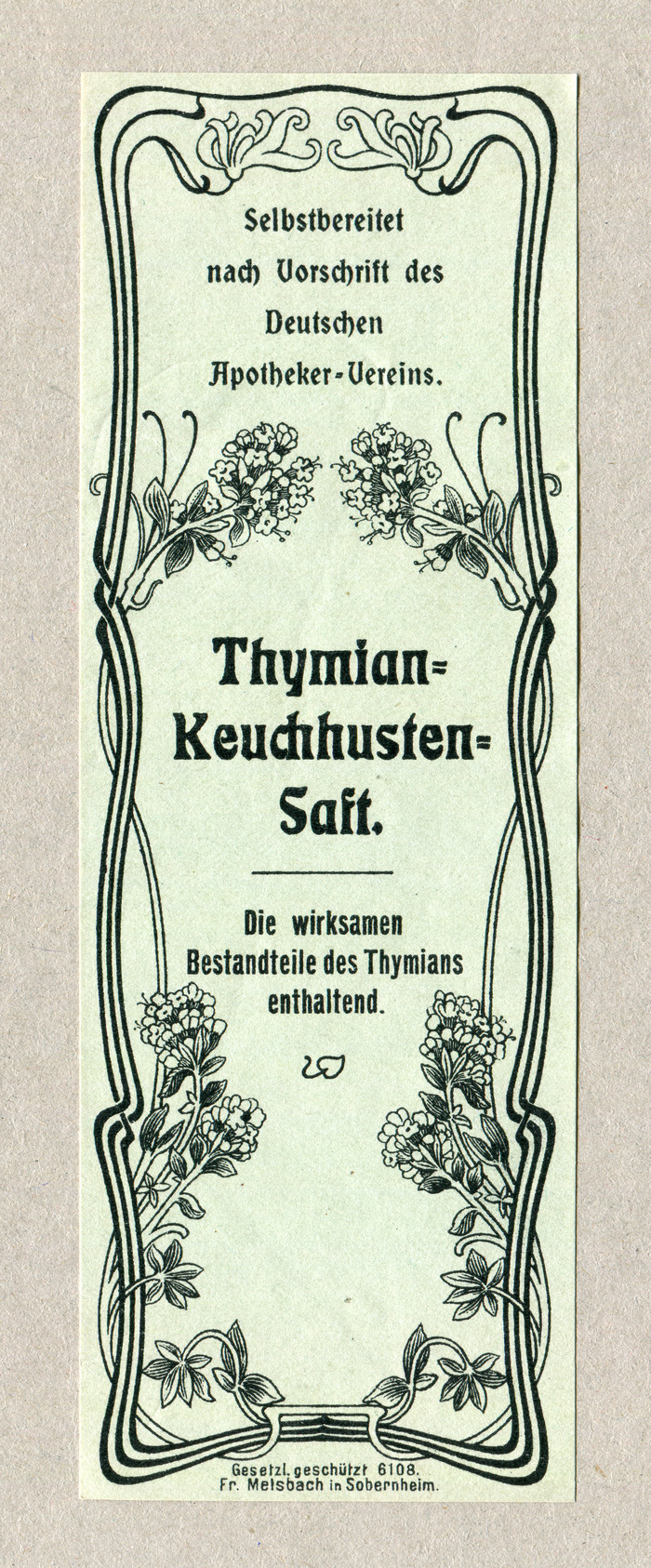 "The label for Thymian-Keuchhusten-Saft (""Thyme syrup for whooping cough"") pairs  with  and a condensed grotesk."