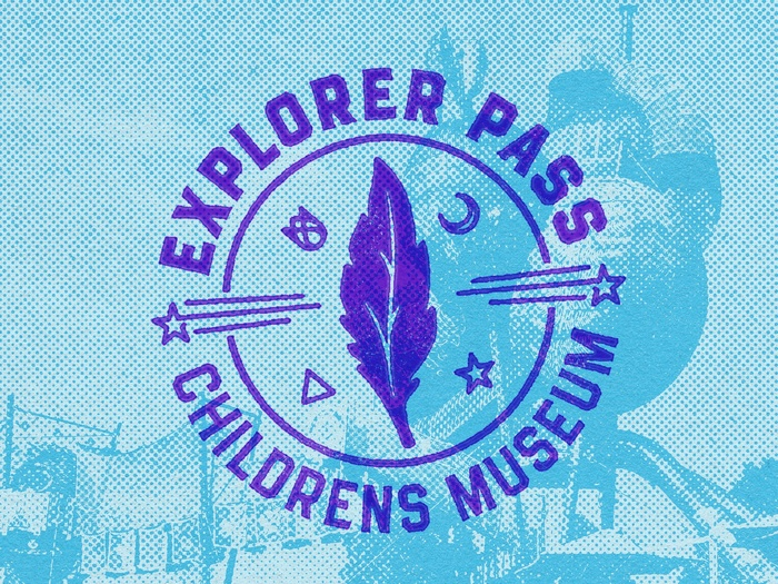 The icon for the Children's Museum of Denver draws inspiration from the newest installation — a humongous exploration structure called the Adventure Forest. The central feather is the actual logo for the Adventure Forest, and the accompanying symbols are found throughout the structure.