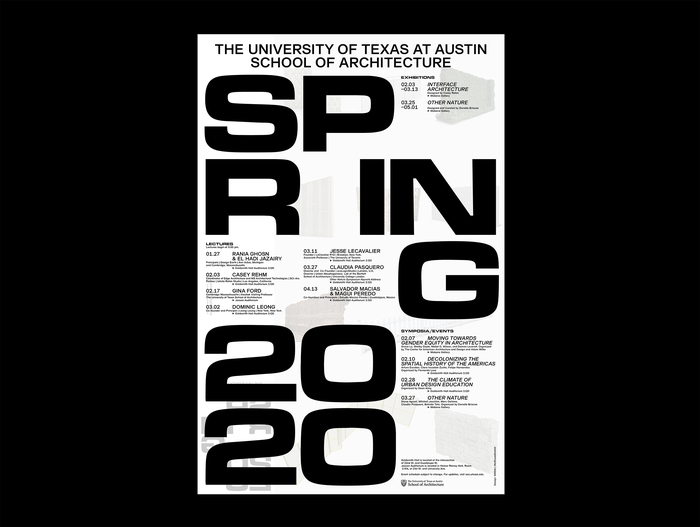 Spring 2020 lecture series poster, University of Texas at Austin School of Architecture 1