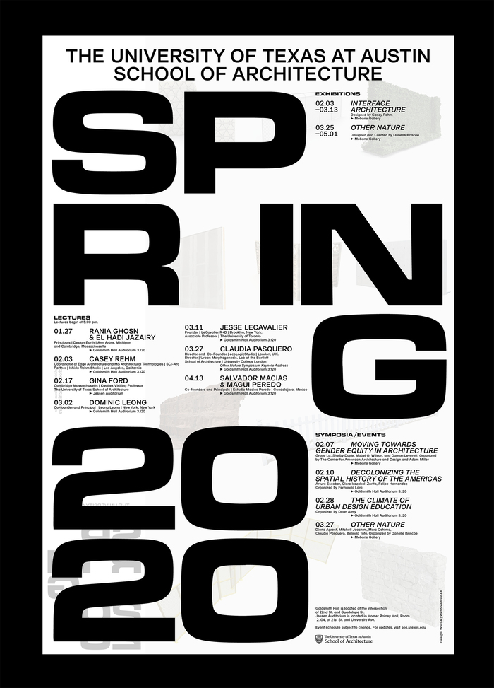 Spring 2020 lecture series poster, University of Texas at Austin School of Architecture 2