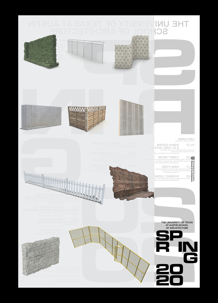 Spring 2020 lecture series poster, University of Texas at Austin School of Architecture 3