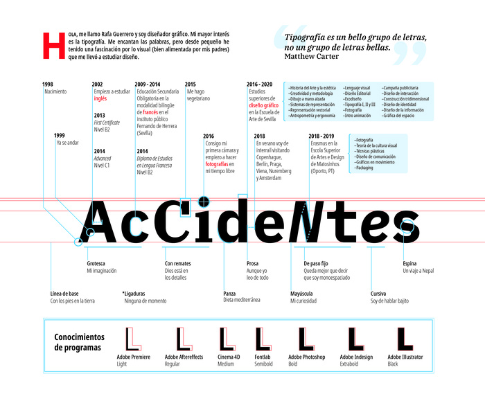 """Accidentes"", typographic CV"