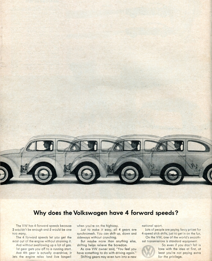 """Why does the Volkswagen have 4 forward speeds?"" Car and Driver, Mar 1963."