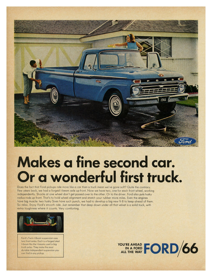 """Makes a fine second car"" – ad for Ford pickups (1966) ft. two weights of ."