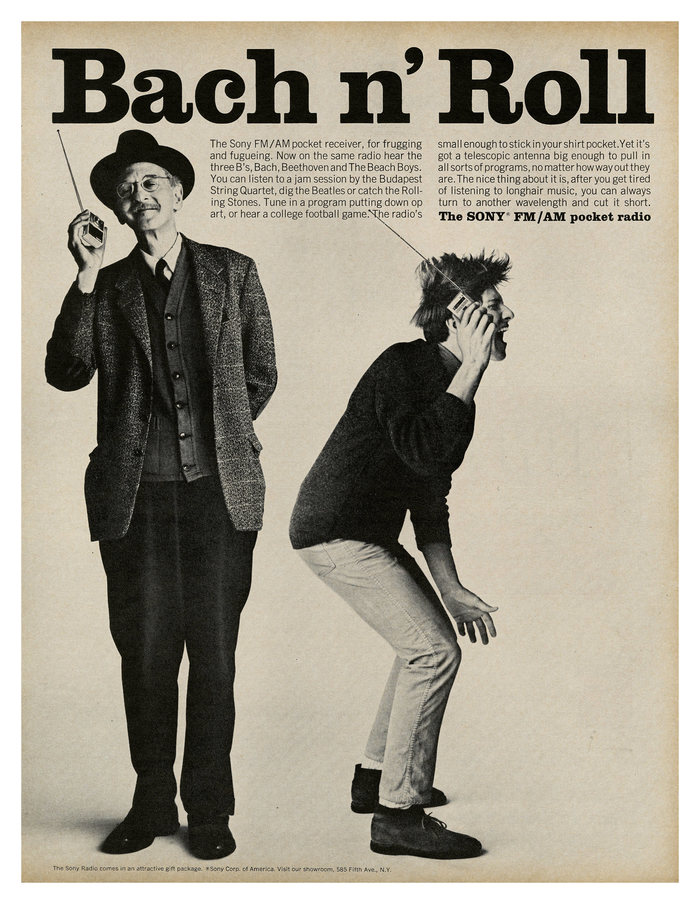 """Wash n' Watch"" and ""Bach n' Roll"" ads by Sony (1965) 2"