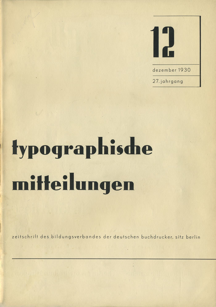Typographische Mitteilungen, Vol.27, No.12, December 1930