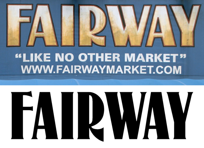 The Fairway logo on the original store (top) compared to McCollough, a digital version of  (bottom).