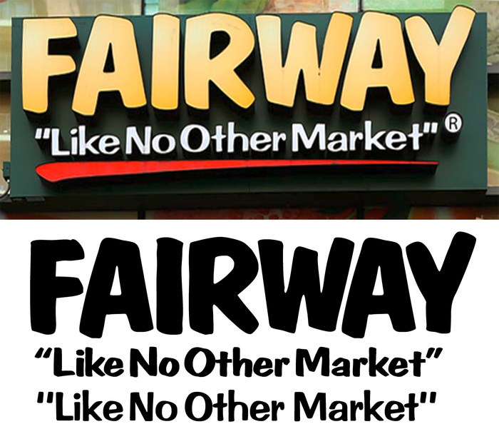 Top: The Fairway logo with slogan. Bottom: Recreation with stretched and respaced glyphs, featuring ①Dom Bold, ② Dom Casual, and ③ Impress (all by Bitstream).