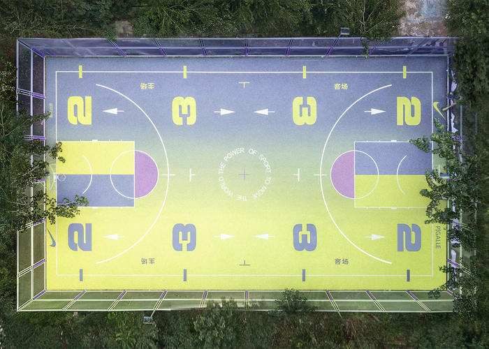 The Nike x Pigalle basketball court in Beijing.