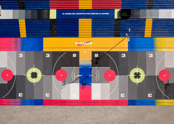 The new Nike x Pigalle basketball court in Mexico City.