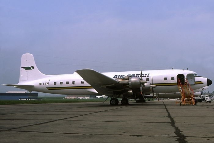 An Air Gabon Douglas DC-6 at Paris–Le Bourget Airport in July 1977.