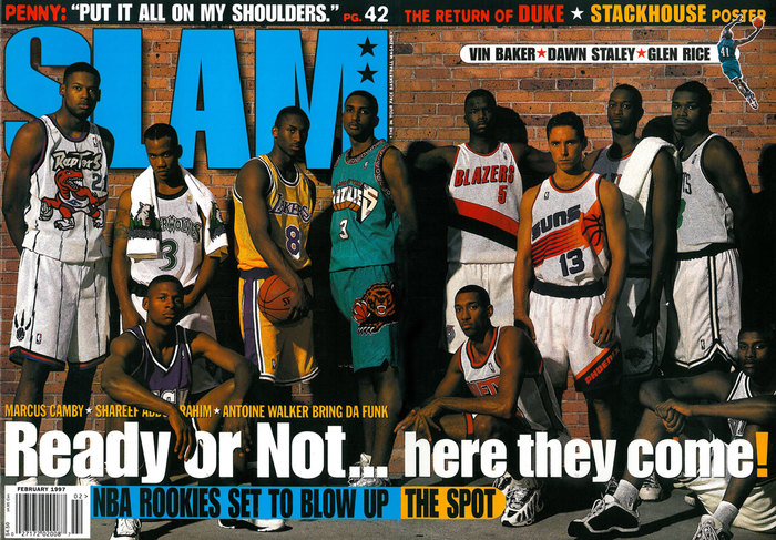 February 1997 ft. , , and . Bryant's #8 jersey would be a mainstay until 2006 when he switched to #24.