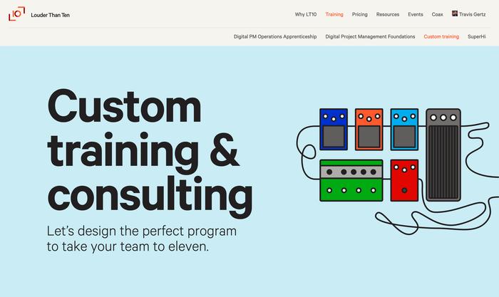 Custom training page on website