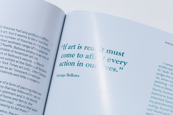 Goudy Oldstyle was used for a section about George Bellows. Body text uses Post Grotesk.