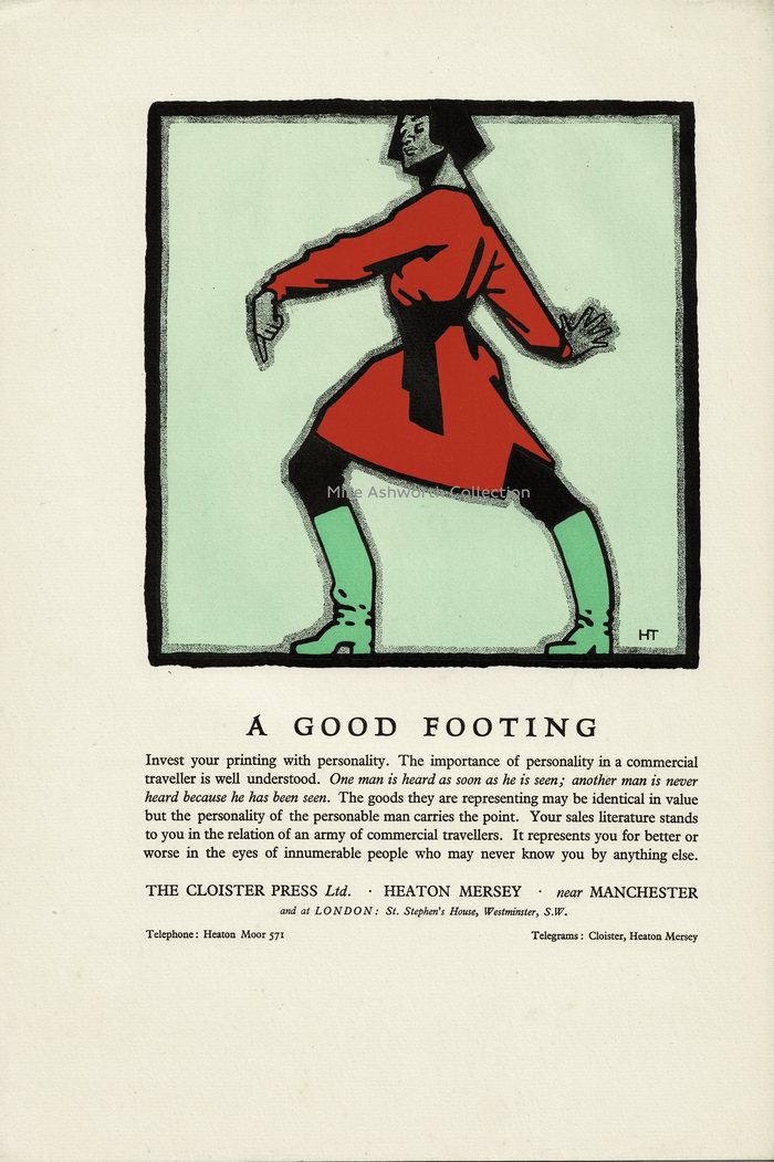 """This is the back page of the sheet for Typographical Decoration & Illustration and is beautifully printed on Abbey Mills Greenfield paper. The illustration is for """"good footing"""" and is by """"HT"""", who I reckon is Horace Taylor, the well known artist and illustrator who undertook poster commissions for London Underground amongst many others."""