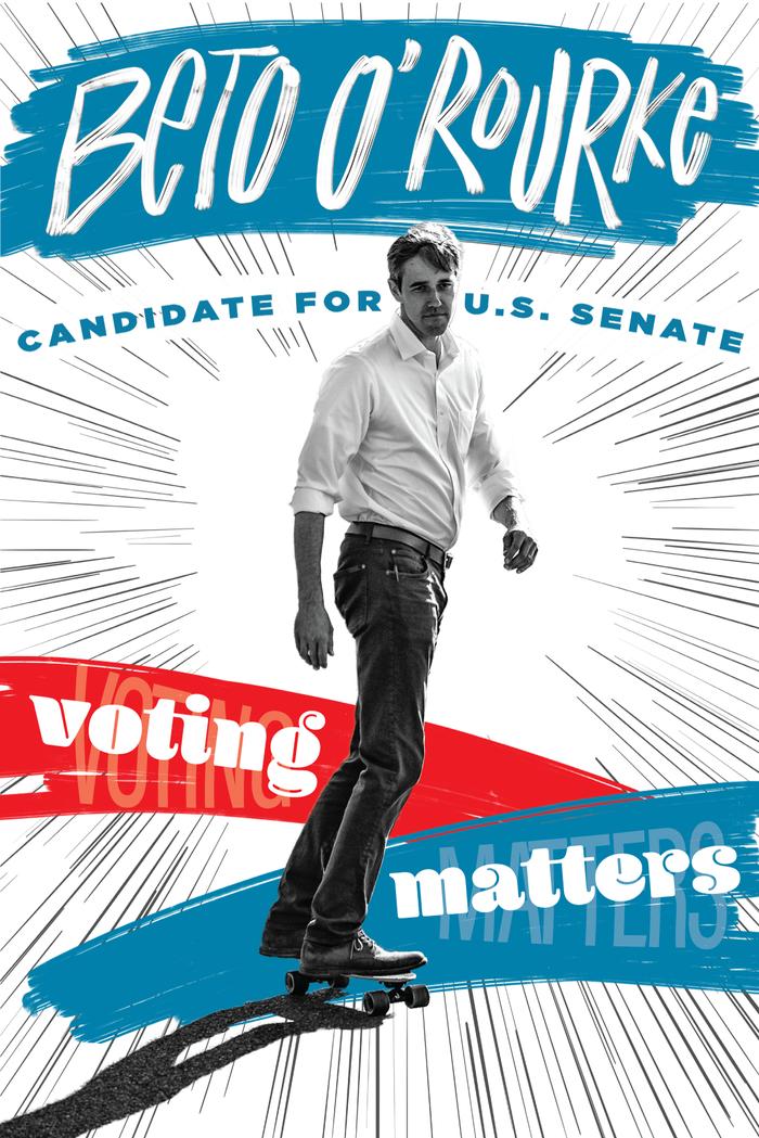 Cruz Can't Skate – Beto O'Rourke U.S. Senate campaign poster