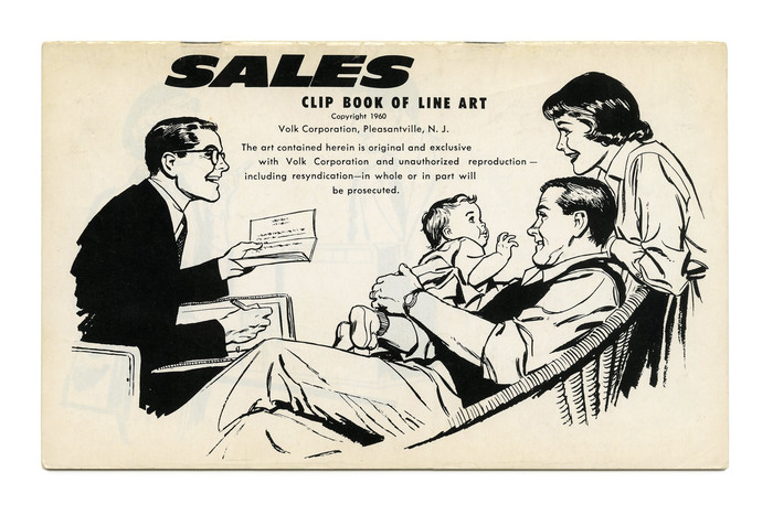 """""""Sales"""" (No. 286) ft. Filmotype Ebony, the oblique companion of Flare. See also the clip book cover on the same topic from the following year. Small type in  and ."""