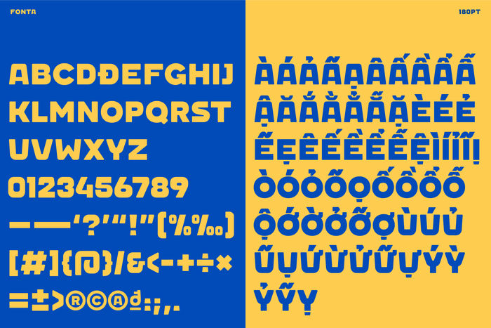Glyph set of Fonta, the custom font made for Guta. Image by Duy — N.