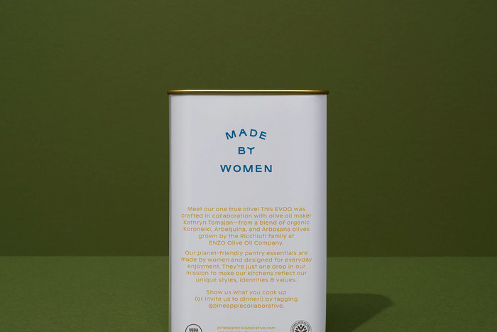 The female founders of Pineapple Collaborative take pride in their highly engaged female following, and they're proud to be working directly with women producers & growers, so we called this out on the back.