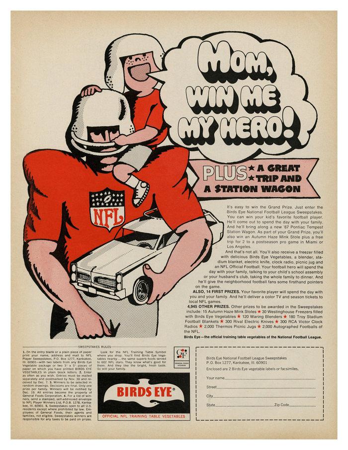 """Mom, win me my hero!"" ad by Birds Eye (1966)"