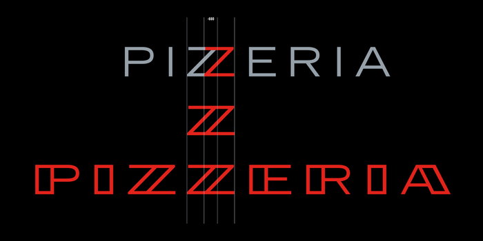 """""""'Pizzeria' is set in a custom typeface that uses American ingredients with an Italian flair. The discovery of a new stressed sans serif letterform came by overlapping two Zs of  Extended, a classic American Typeface. From there we extended it to an uppercase alphabet for Pizzeria Bebu's secondary typography."""" — Thirst"""