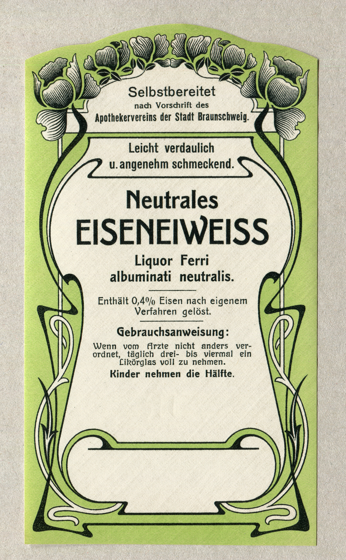 """Neutrales Eiseneiweiß"" pharmacy label"