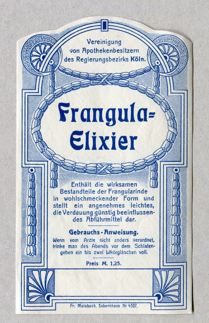 Frangula-Elixier ft. more  for the name. The text is set in two weights of Berthold's . The price info uses .
