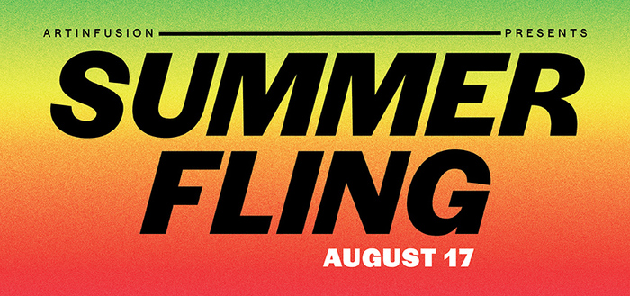 Web banner for Summer Fling, combining two recurring themes in the Crystal Bridges design, all-caps italics and gradients.