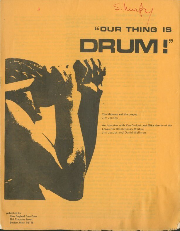 A booklet chronicling the origin and political philosophy of DRUM and the League of Revolutionary Black Workers, 1970. The title is set in  Bold Extended, the remaining text in Univers.