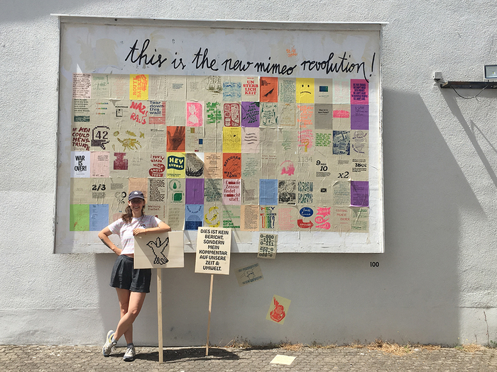 """""""This is the new mimeo revolution!"""" — installation with the 100 pamphlets plus protest signs at the HBKsaar."""