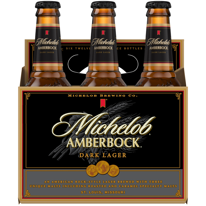"""Amberbock"" is based on  Bold. The orange text is set in  and . ""Michelob Brewing Co."" is unidentified."